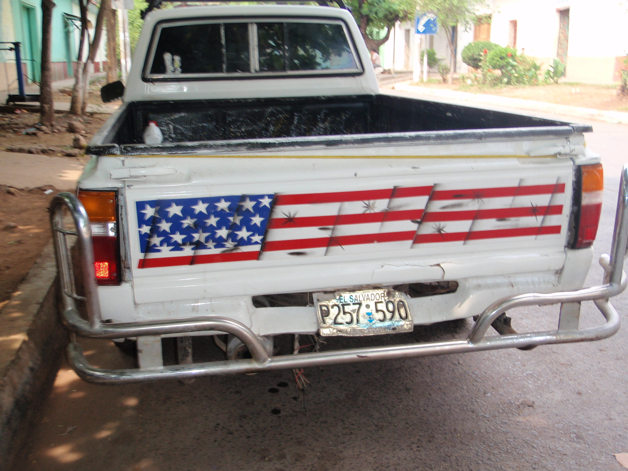 An American flag painted on a
