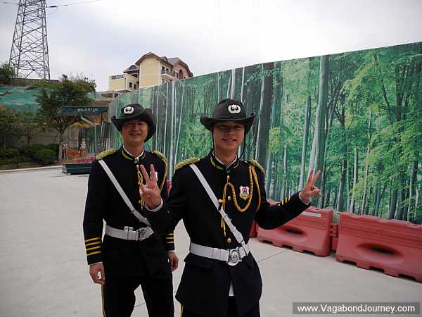 Security guards at China's Hallstatt dress up as Austrian (?) soldiers.