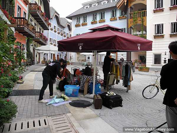 About the only thing that's going on at Hallstatt, China is portrait photography.