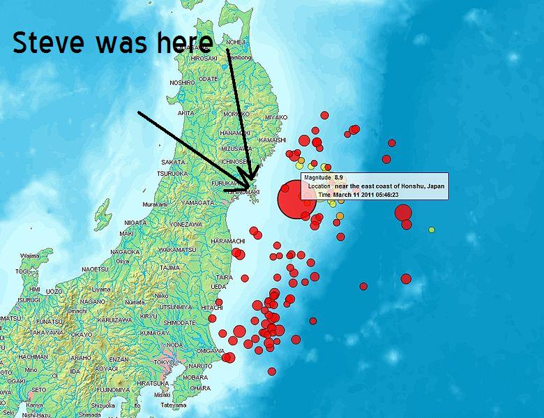 earthquake in japan map. Map of Sendai earthquake 2011
