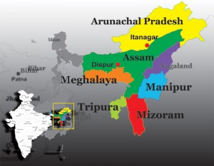 Map of Northeast India