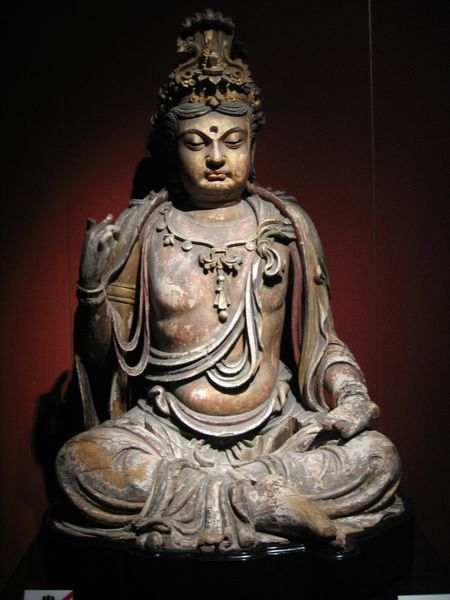 Wood carved bodhisattva