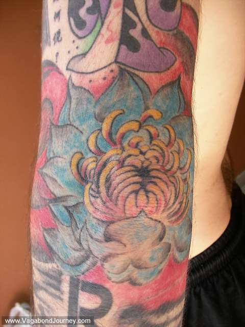 Lotus flow tattoo that was done in Hangzhou, China. This one did not heal