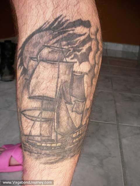 Tattoo of a ship that was done in the paseos of Lima, Peru. The first time