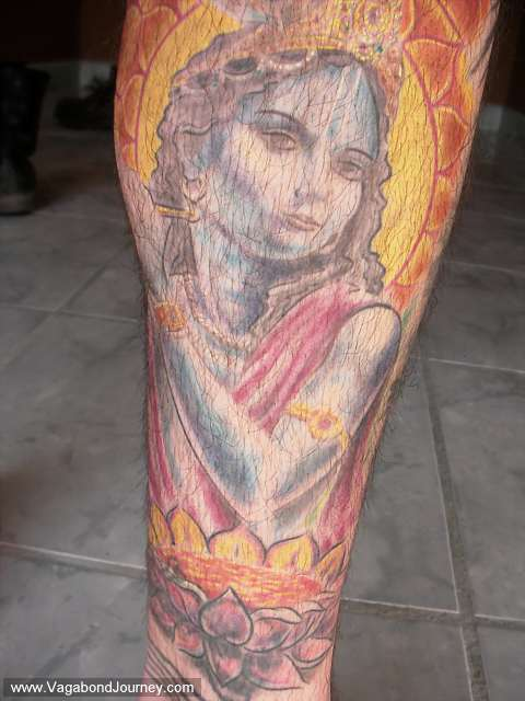 Krishna tattoo that was done in the south of France by Sergio Villagran,