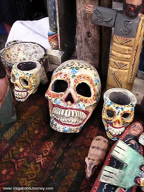 Mexican skulls for sale at the Chichicastenango market