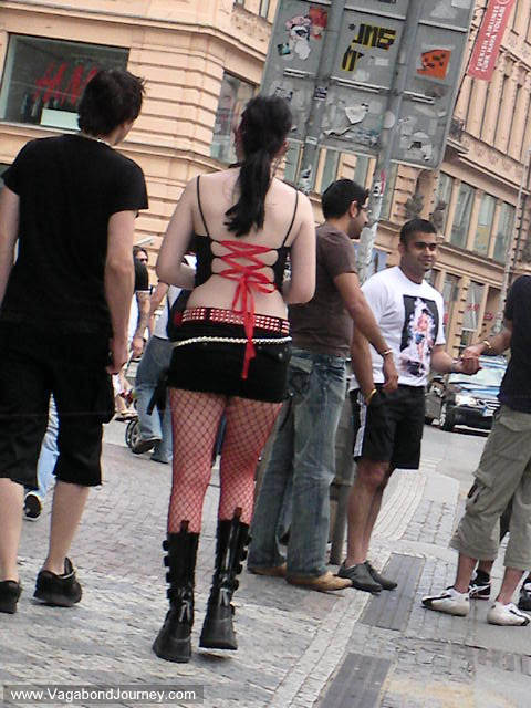 Tattoo Girl in short skirt on the streets of Prague.