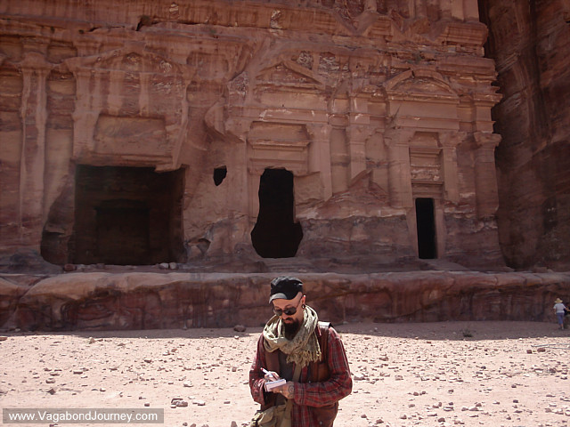 picture of Wade taking notes in Petra