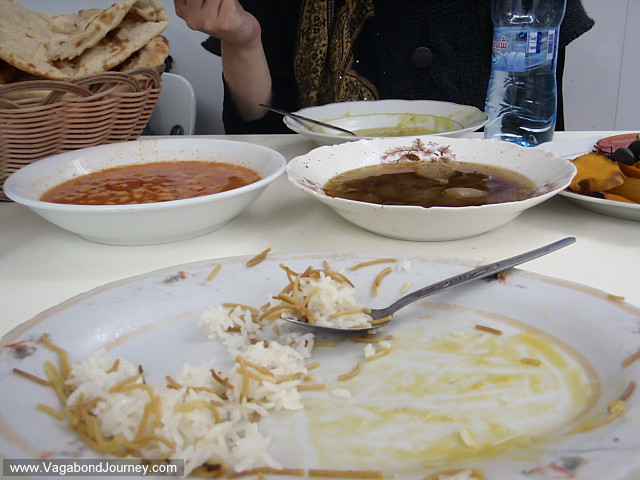 iraq food: rice, noodles, bean stew, pea soup, bread, eggs