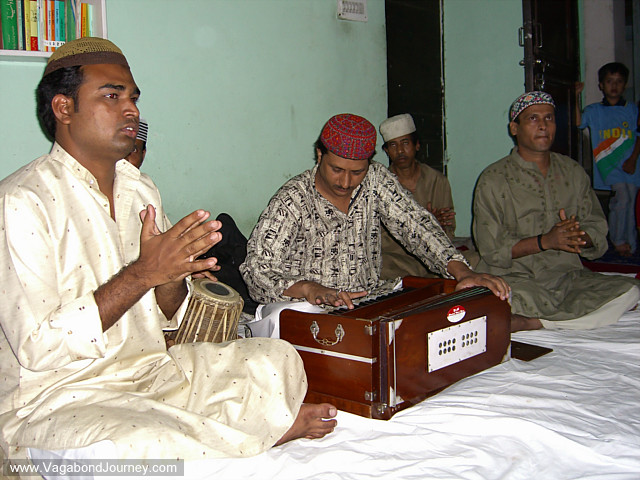 Sufi Qawwali musicians perform at the end of Ramadan in Old Delhi