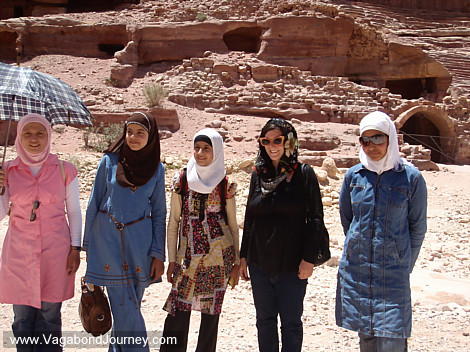 Chaya with a group of Jordan girls in typical clothing. What girl does