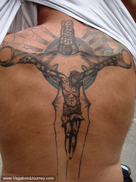 Gothic angel tattoo on the back. I found it an appropriate choice of tattoo,