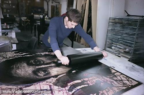 Woodblock print artist Justin Catania working