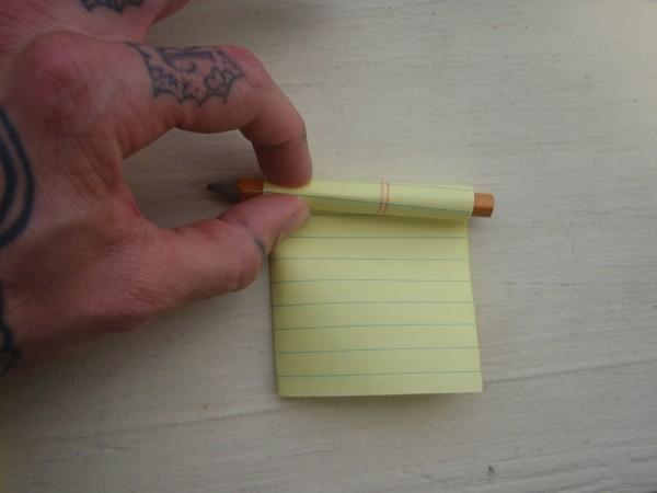 Roll paper around mini pencil