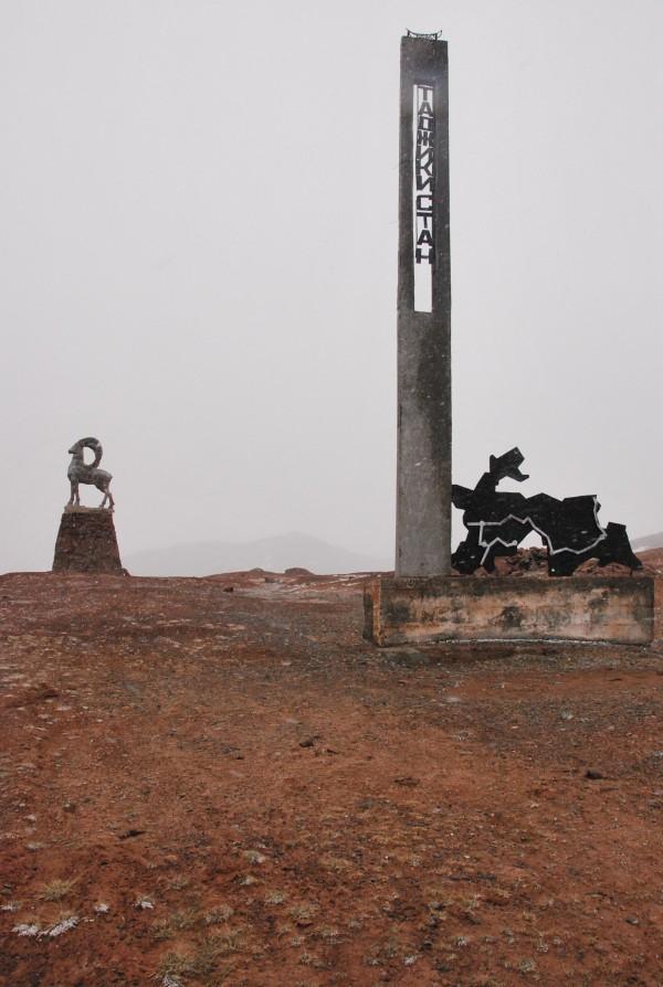 Two statues mark the near the Tajikstan border. A Marco Polo sheep
