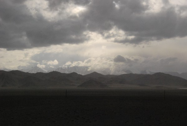 A storm begins to clear after a couple of hours after passing the Tajikistan border