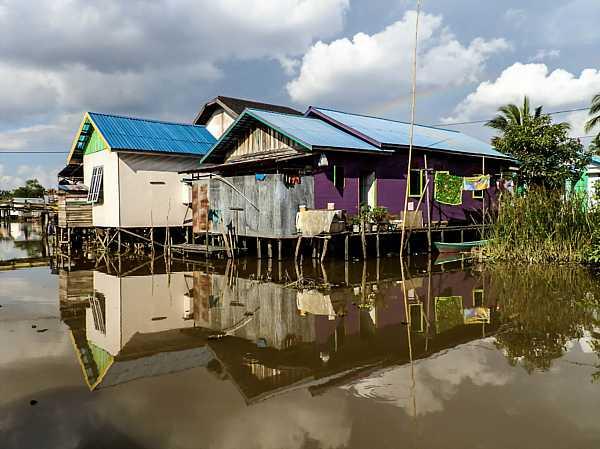 Stilt houses in Banjarmasin.