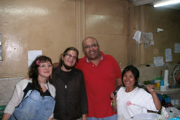 Johan (red shirt) with kitchen staff at Casa Activa.