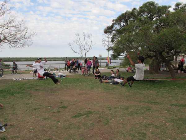 Slacklining in the park.