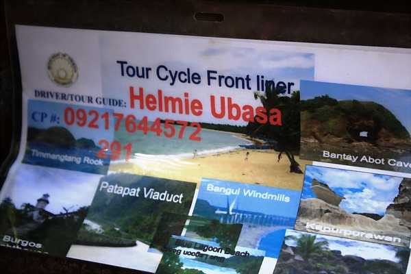 Sign for a tricycle tour in Ilocos Norte
