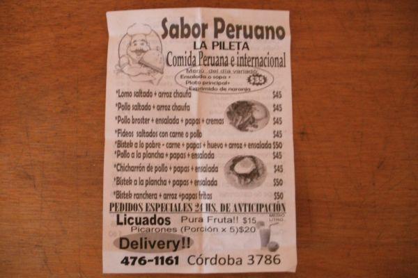 "The menu from the ""underground' Peruvian restaurant."