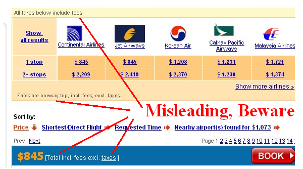 Airfare results page says that the price includes fees but excludes taxes. This is misleading.