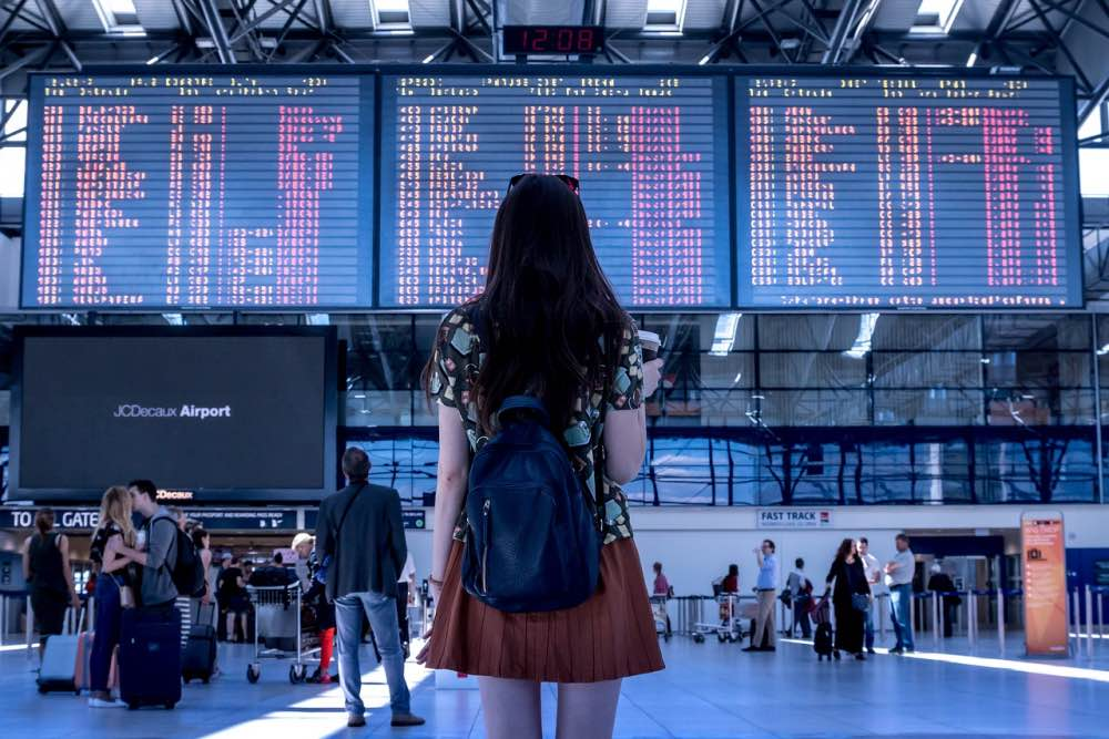 Woman traveler airport