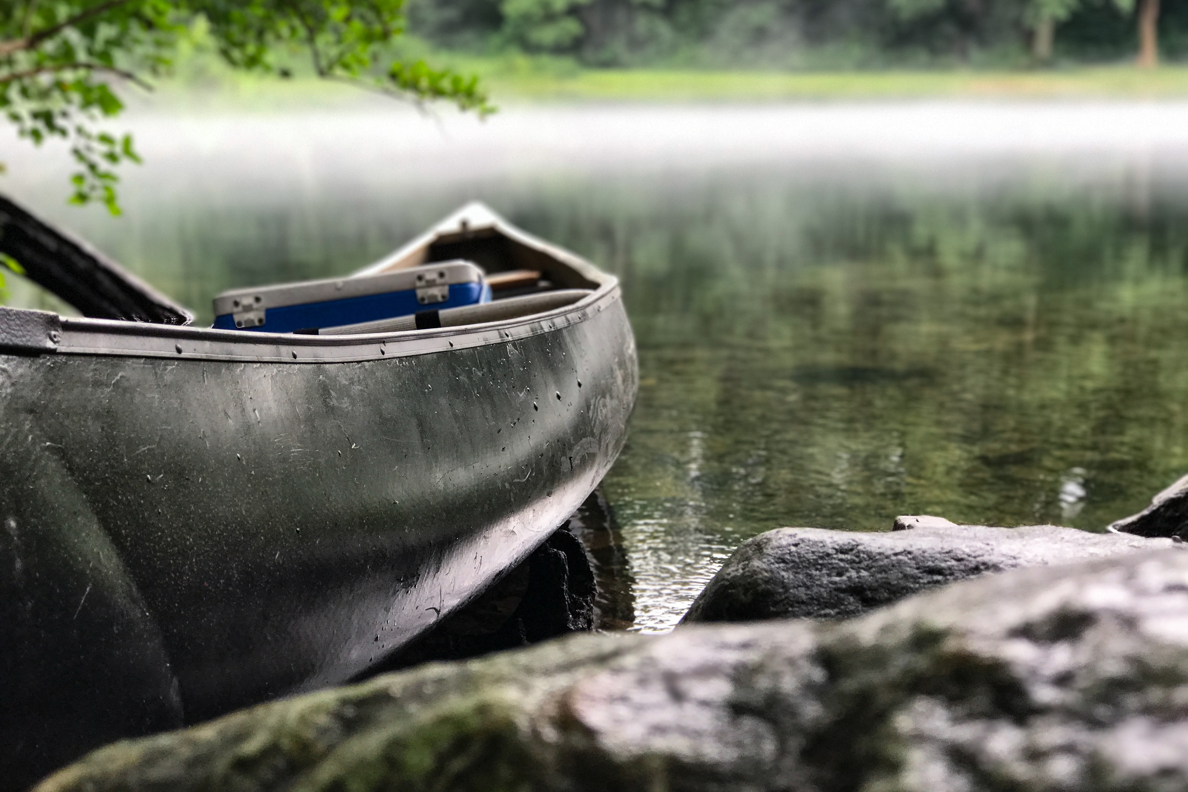 Row boat with camping cooler