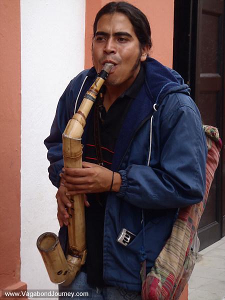 Bamboo saxophone busker