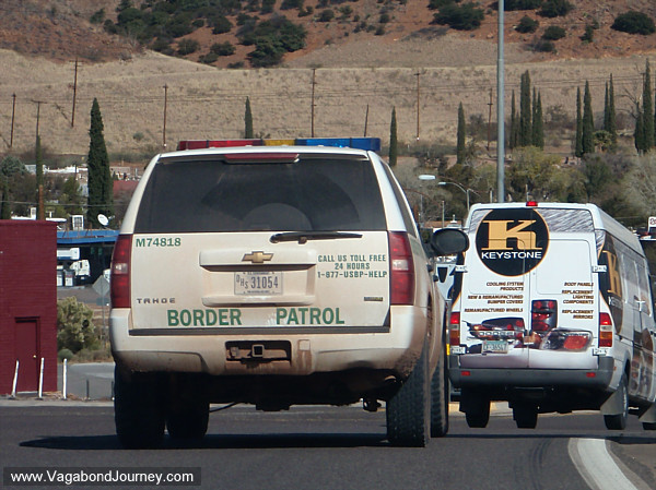 Border patrol truck on US/ Mexico border in Arizona