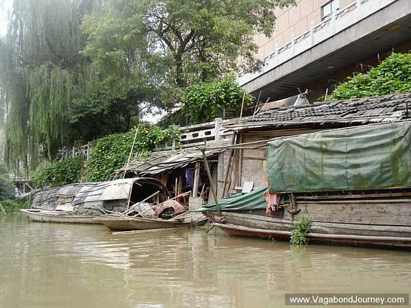 Shacks built on a canal