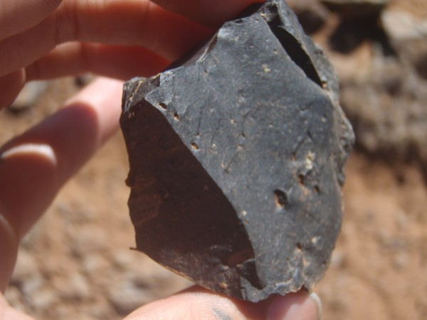 Dacite core -- pieces were taken off of this chunk for the purpose of making into tools