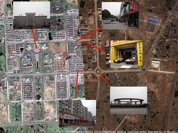 Dantu: then and now. Satellite image that was used as evidence that Dantu was a ghost city in 2010 overlaid with photos of how it is now.