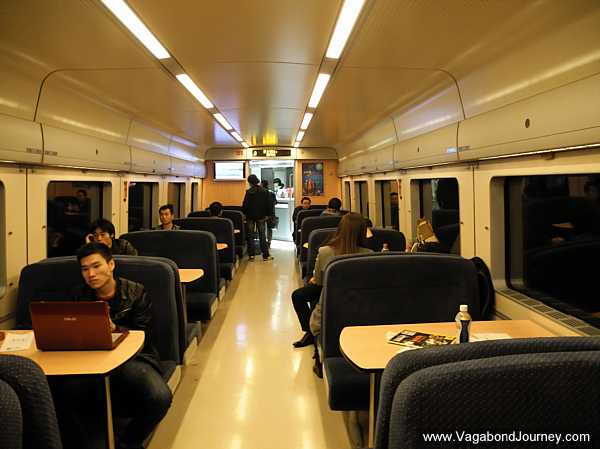 Dining car on a high-speed train