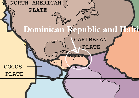 Tectonic plates near the Dominican Republic and Haiti