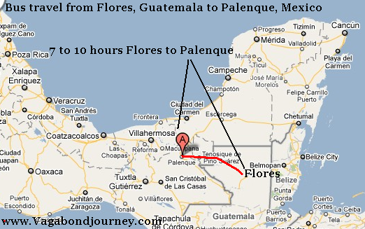 flores to palenque bus map