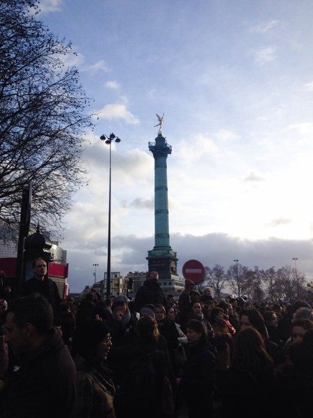 "Place de la Bastille (place means ""square"" in France). It wasn't even on the scheduled route of the march, but a massive and compact crowd went there because there was no more room on the Place de la République, where the march was due to start. So that's where I started the march with my friends and where we got stuck for at least 30 to 45 min."