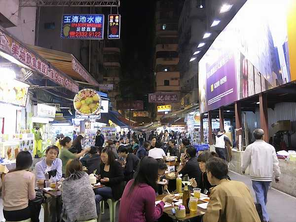 people eating in the Temple Street night market