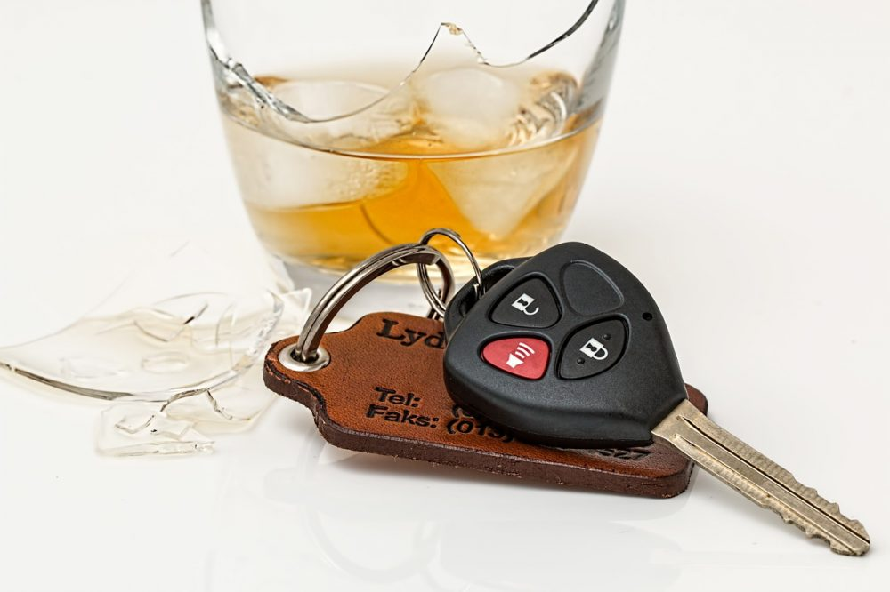 Keys and alcoholic beverage