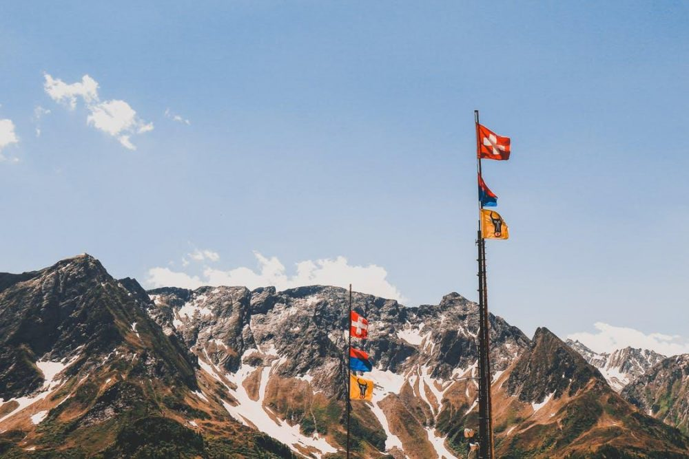 Flags and mountains