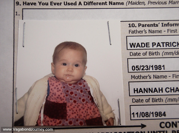 Petra's infant passport application