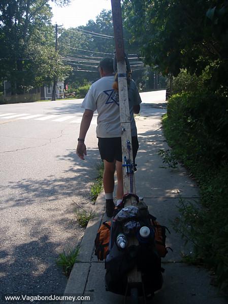 Walking with giant cross