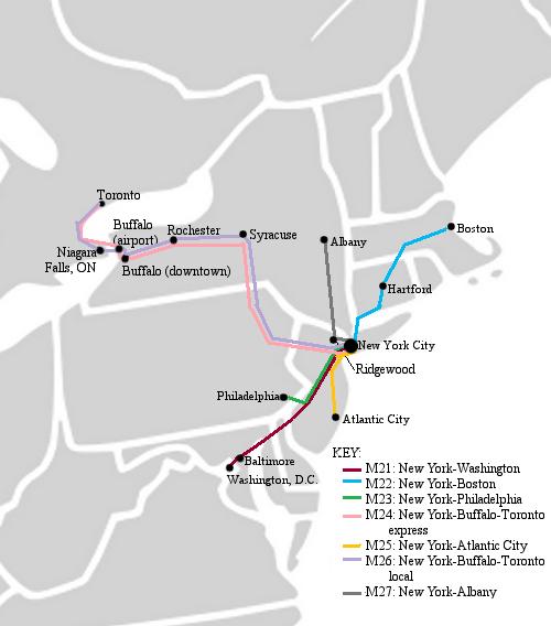 Megabus northeast New York City hub bus routes