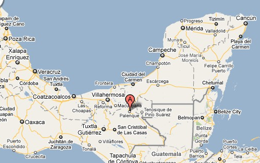 Palenque mexico map