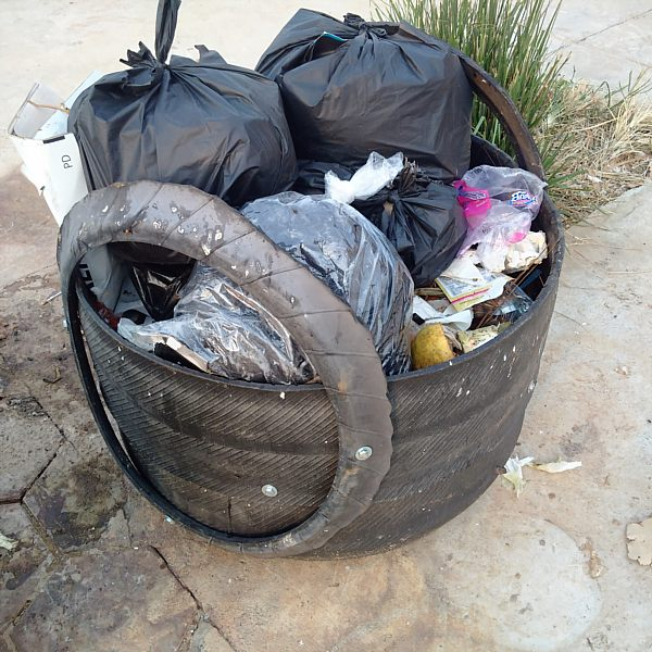 rubber tire garbage can