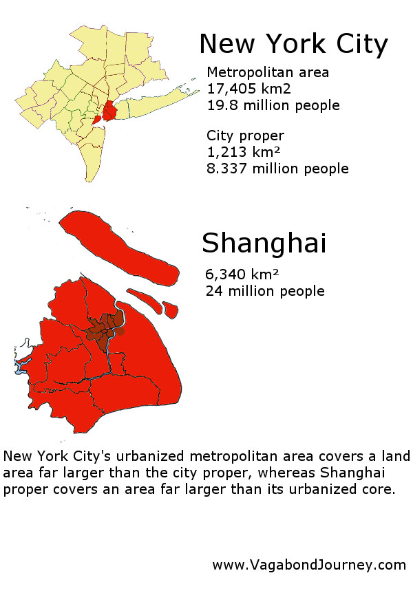 New York's urban area and the city proper contrasted with Shanghai's heavily urbanized area (in dark red) and it's city proper.