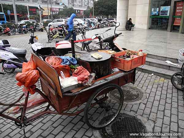 Street food cart in China