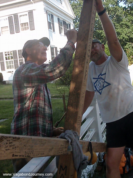 This man ran across his yard to meet Tom and sign his cross