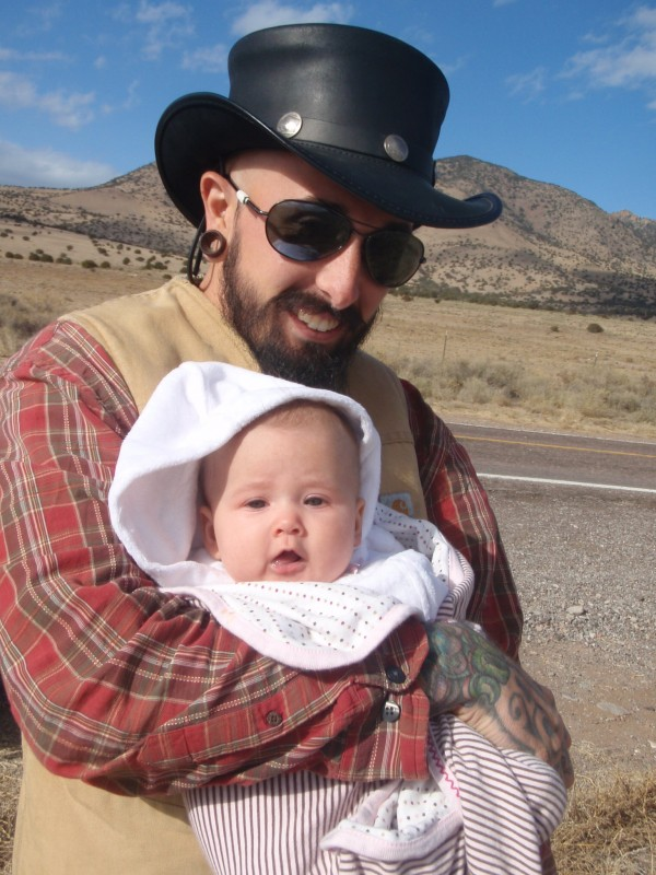 Wade with traveling hat and Petra in New Mexico