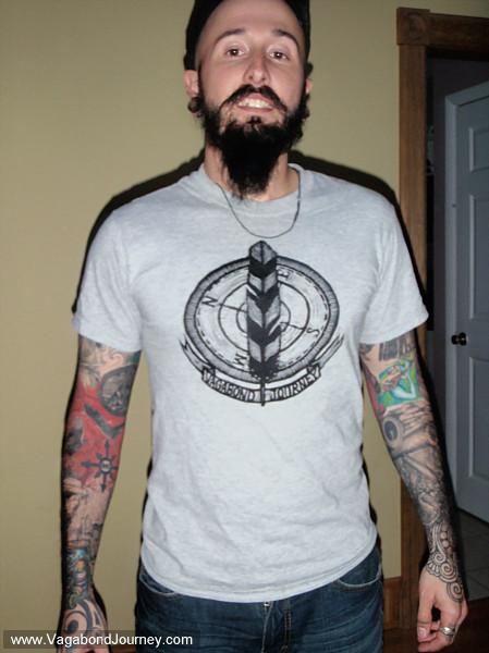 Wade wearing a Vagabond Journey.com t-shirt